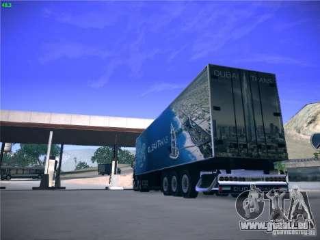 Remorque pour Scania R620 Dubaï Trans pour GTA San Andreas vue de droite