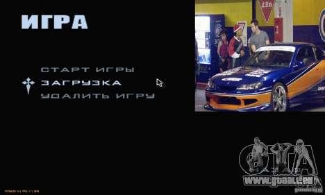 Rapide et le furieux menu 3 pour GTA San Andreas deuxième écran