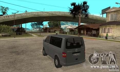 Volkswagen Transporter T5 TDI pour GTA San Andreas sur la vue arrière gauche