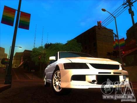 Mitsubishi Lancer Evolution IX MR pour GTA San Andreas vue intérieure