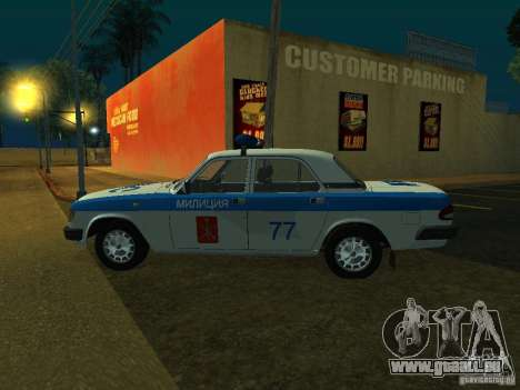 GAZ 3110 Police pour GTA San Andreas sur la vue arrière gauche