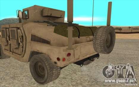 Hummer H1 Military HumVee für GTA San Andreas zurück linke Ansicht