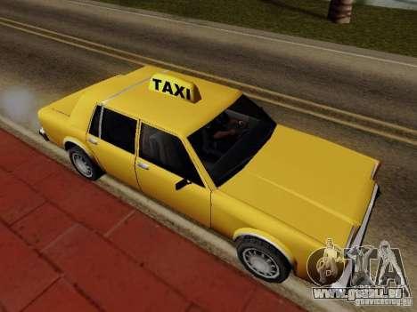 Greenwood Taxi pour GTA San Andreas sur la vue arrière gauche
