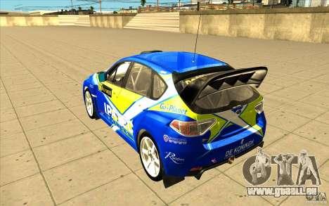 Subaru Impreza WRX STi avec unique nouveau vinyl pour GTA San Andreas vue de dessous