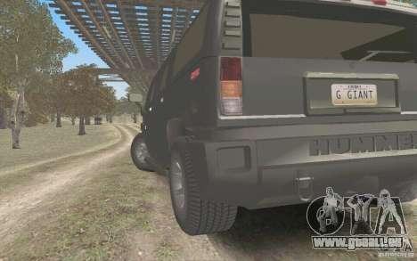Hummer H2 Stock für GTA San Andreas zurück linke Ansicht