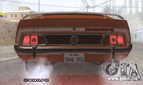 Ford Mustang Mach1 1973 pour GTA San Andreas vue de dessous