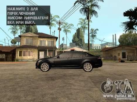 Pontiac G8 GXP Police v2 für GTA San Andreas linke Ansicht