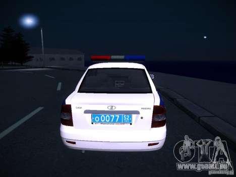 LADA Priora 2170 DPS pour GTA San Andreas vue arrière