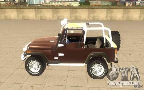 Jeep Wrangler 1986(2) pour GTA San Andreas sur la vue arrière gauche