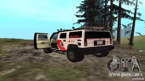 HUMMER H2 Amulance pour GTA San Andreas sur la vue arrière gauche
