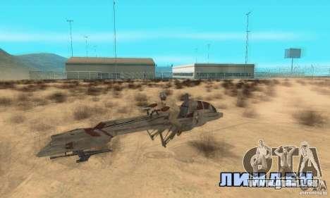 Star Wars speedbike pour GTA San Andreas vue de droite