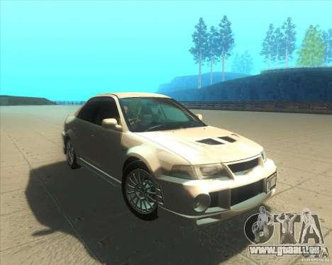 Mitsubishi Lancer Evolution VI 1999 Tunable für GTA San Andreas Unteransicht