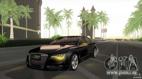 Audi S8 2012 pour GTA San Andreas sur la vue arrière gauche