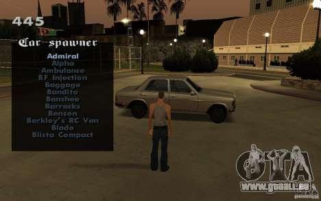 Vehicles Spawner für GTA San Andreas her Screenshot