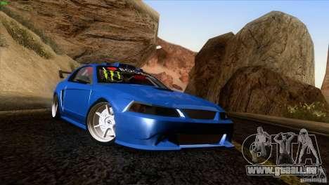 Ford Mustang GT 1999 für GTA San Andreas zurück linke Ansicht