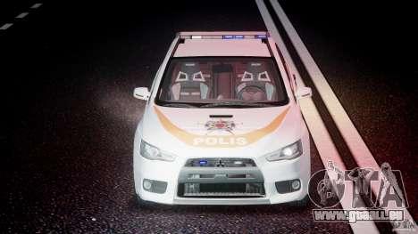 Mitsubishi Evolution X Police Car [ELS] für GTA 4 obere Ansicht