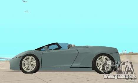 Lamborghini Gallardo Spyder für GTA San Andreas rechten Ansicht