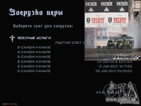 Formule menu de style Drift pour GTA San Andreas septième écran