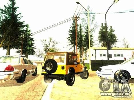 Jeep Wrangler Convertible für GTA San Andreas Rückansicht