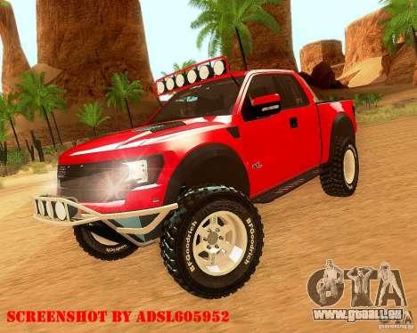 Ford F150 2011 SVT RapTor für GTA San Andreas zurück linke Ansicht