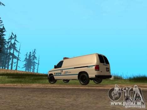 Ford E-150 NYPD Police pour GTA San Andreas sur la vue arrière gauche