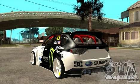 Subaru Impreza 2009 (Ken Block) pour GTA San Andreas sur la vue arrière gauche