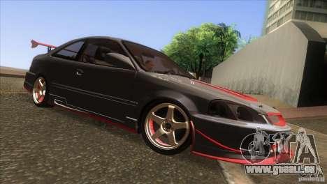 Honda Civic SI pour GTA San Andreas vue intérieure