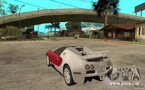 Bugatti Veyron Gran Sport 2011 für GTA San Andreas zurück linke Ansicht