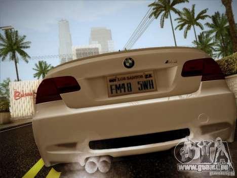 BMW E92 v2 Updated pour GTA San Andreas sur la vue arrière gauche