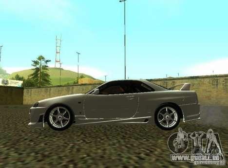 Nissan Skyline GTR-34 pour GTA San Andreas vue de côté