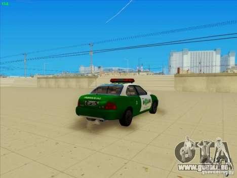 Nissan Sentra Carabineros De Chile für GTA San Andreas zurück linke Ansicht