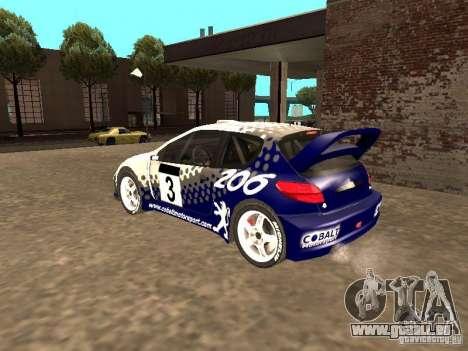 Peugeot 206 WRC de Richard Burns Rally pour GTA San Andreas laissé vue