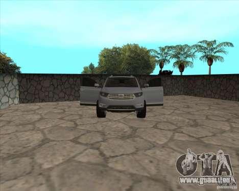 Toyota Highlander pour GTA San Andreas vue de dessus