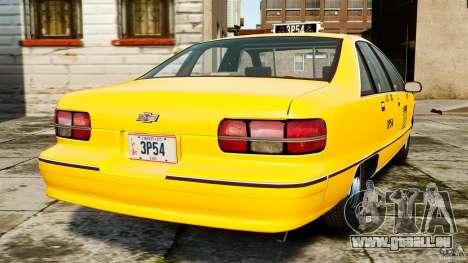 Chevrolet Caprice 1991 LCC Taxi pour GTA 4 Vue arrière de la gauche