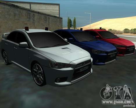 Mitsubishi Lancer Evolution X MR1 v2.0 für GTA San Andreas Rückansicht