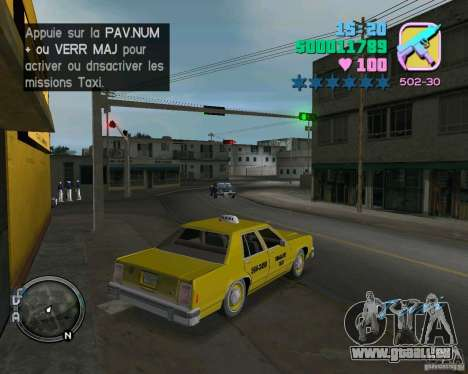 Ford Crown Victoria LTD 1985 Taxi für GTA Vice City Rückansicht