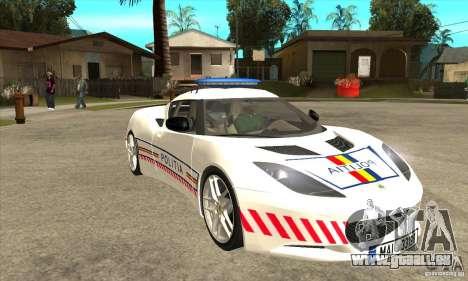 Lotus Evora S Romanian Police Car für GTA San Andreas Rückansicht