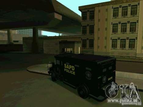 Stokade SAPD SWAT Van für GTA San Andreas zurück linke Ansicht