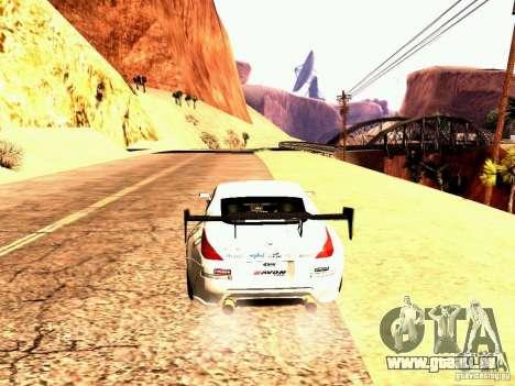 Nissan 350Z Avon Tires pour GTA San Andreas sur la vue arrière gauche