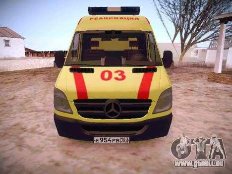 Mercedes Benz Sprinter Ambulance pour GTA San Andreas laissé vue