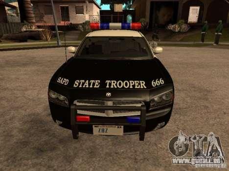 Dodge Charger RT Police pour GTA San Andreas sur la vue arrière gauche