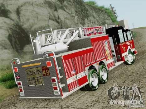 Pierce Rear Mount SFFD Ladder 49 für GTA San Andreas zurück linke Ansicht