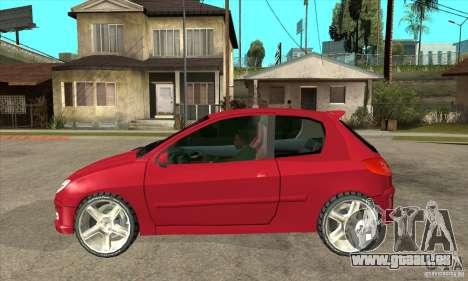 Peugeot 206 pour GTA San Andreas laissé vue
