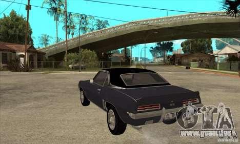 Chevrolet Camaro SS - Stock für GTA San Andreas zurück linke Ansicht