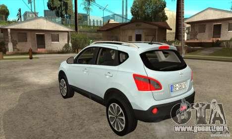 Nissan Qashqai 2011 pour GTA San Andreas sur la vue arrière gauche