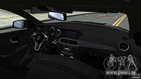 Mercedes Benz C63 AMG Black Series 2012 pour GTA 4 vue de dessus