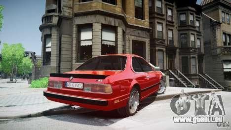 BMW M6 v1 1985 pour GTA 4 Vue arrière de la gauche