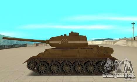 Réservoir T-34 pour GTA San Andreas laissé vue