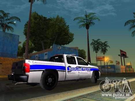 Chevrolet Silverado Rockland Police Department pour GTA San Andreas sur la vue arrière gauche