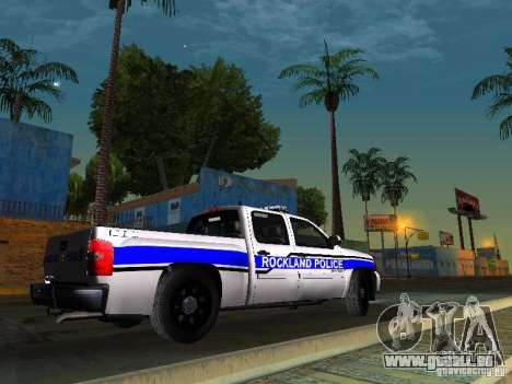 Chevrolet Silverado Rockland Police Department für GTA San Andreas zurück linke Ansicht